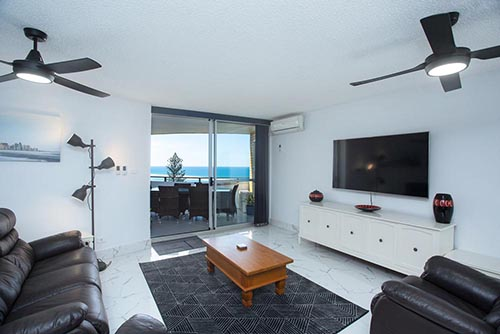 beachfront view of living room